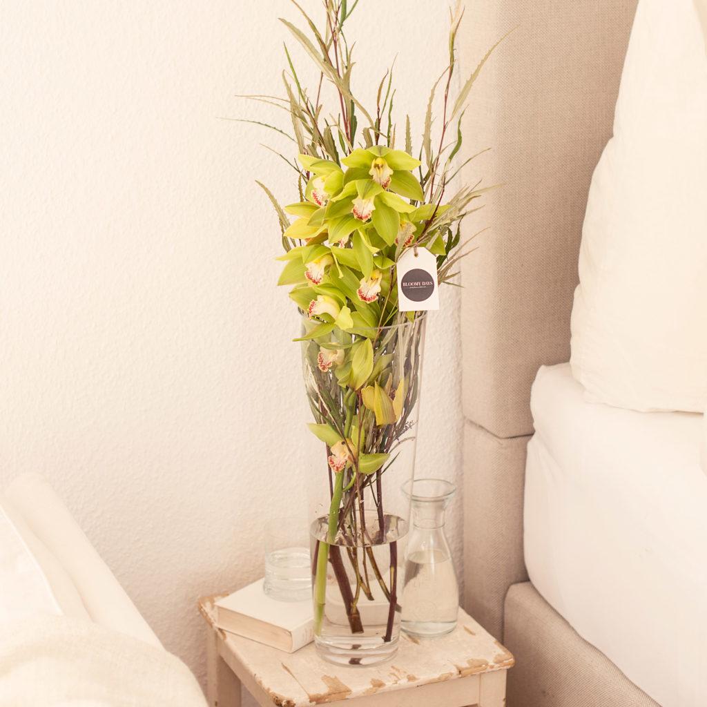 Cymbidie-Orchidee-Grevillea-Silbereiche