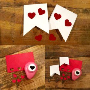 Herzen stanzen und aufkleben für DIY-Muttertagsgeschenk
