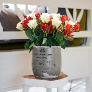Weiße Rosen und Papageientulpen
