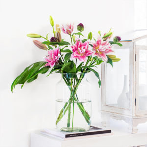 Lilien, Monstera und Minizierlauch als Blumengeschenk