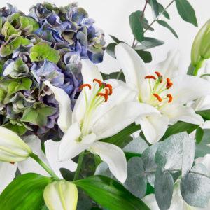 Pastel Dream: Hortensie, Lilien und Eucalyptus