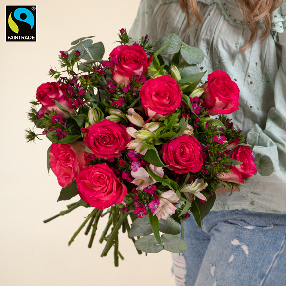 """Fairtrade-Blumen """"Herzliche Grüße L"""""""